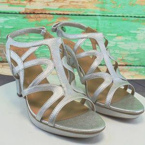 Naturalizer Shiny Silver Platform Evening Shoes